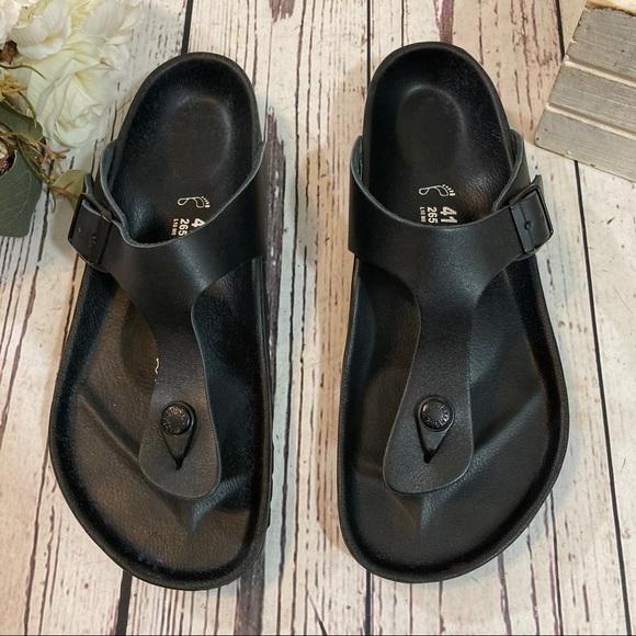 Birkenstock leather exquisite black gizeh sandals